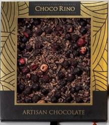 Mézes Csoki ChocoRino 75 % Kakaóbab töret - Fekete Ribizli díszdobozos